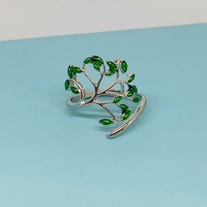 Silver Green Living Tree adjustable ring